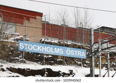 STOCKHOLM, SWEDEN - FEBRUARY 26, 2018: Stockholm Ostra (east) station in Sweden