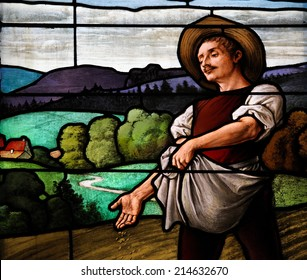 STOCKHOLM, SWEDEN - FEBRUARY 27, 2012: Stained glass window depicting a sower throwing seed on a field in the German church of Stockholm, Sweden.