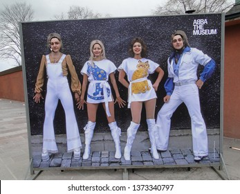 Stockholm, Sweden -  March 17, 2016 : Four Visitors  in the Bodies of ABBA members -  ABBA the Museum