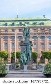 Stockholm, Sweden. Gustav Adolf torg with statue of King Gustav II Adolf by swedish sculptor Pierre Hubert L'Archeveque (1721-1778).