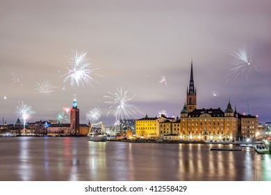 Stockholm, Sweden -Jan 1, 2016 : New Year Fireworks are popping across Stockholm. On New Year's Eve, streets are filled with families, friends and lovers with fireworks and champagne in their hands
