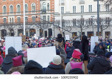 STOCKHOLM, SWEDEN - JAN 21, 2018: Womens March, a worldwide protest for women's rights in central Stockholm, Norrmalmstorg, Sweden, January 21, 2018
