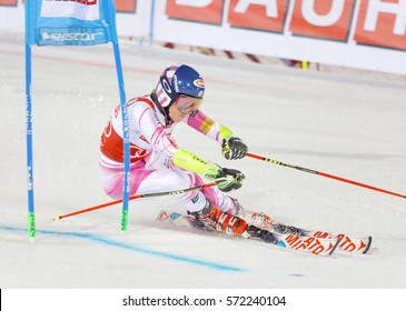 STOCKHOLM, SWEDEN - JAN 31, 2017: Mikaela Shiffrin (USA) fighting in the downhill skiing parallel slalom makes a turn at the Alpine Audi FIS Ski World Cup - city event January 31,2017,Stockholm,Sweden