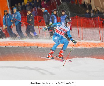 STOCKHOLM, SWEDEN - JAN 31, 2017: Aleksander Khorosholv (RUS) jumping in the parallel slalom alpine ski event, Audi FIS Ski World Cup. January 31, 2017, Stockholm, Sweden
