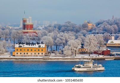 STOCKHOLM, SWEDEN - January 2010: View of Skeppsholmen and Djurgarden in Stockholm in winter