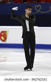 STOCKHOLM, SWEDEN - JANUARY 28, 2015: Ivan RIGHINI of Italy performs short program at ISU European Figure Skating Championship in Globen Arena.