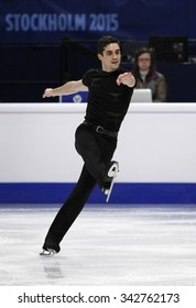 STOCKHOLM, SWEDEN - JANUARY 28, 2015: Javier FERNANDEZ of Spain performs short program at ISU European Figure Skating Championship in Globen Arena.