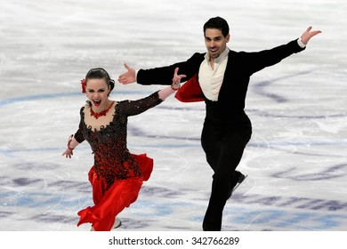 STOCKHOLM, SWEDEN - JANUARY 28, 2015: Anna CAPPELLINI / Luca LANOTTE of Italy perform short dance at ISU European Figure Skating Championship in Globen Arena.