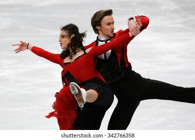 STOCKHOLM, SWEDEN - JANUARY 28, 2015: Elena ILINYKH / Ruslan ZHIGANSHIN of Russia perform short dance at ISU European Figure Skating Championship in Globen Arena.