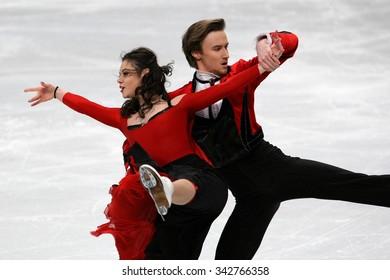 STOCKHOLM, SWEDEN - JANUARY 28, 2015: Elena ILINYKH / Ruslan ZHIGANSHIN of Russia perform short dance at ISU European Figure Skating Championship in Globen Arena.