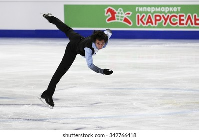 STOCKHOLM, SWEDEN - JANUARY 28, 2015: Alexei BYCHENKO of Israel performs short program at ISU European Figure Skating Championship in Globen Arena.