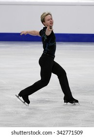 STOCKHOLM, SWEDEN - JANUARY 28, 2015: Alexander MAJOROV of Sweden performs short program at ISU European Figure Skating Championship in Globen Arena.
