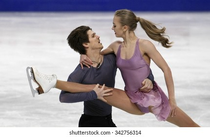 STOCKHOLM, SWEDEN - JANUARY 29, 2015: Alexandra STEPANOVA / Ivan BUKIN of Russia perform during ice dance free skating at ISU European Figure Skating Championship in Globen Arena.