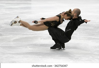 STOCKHOLM, SWEDEN - JANUARY 29, 2015: Nelli ZHIGANSHINA / Alexander GAZSI of Germany perform during ice dance free skating at ISU European Figure Skating Championship in Globen Arena.