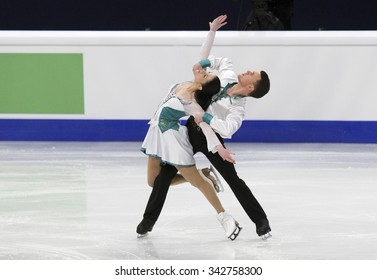 STOCKHOLM, SWEDEN - JANUARY 29, 2015: Charlene GUIGNARD / Marco FABBRI of Italy  perform during ice dance free skating at ISU European Figure Skating Championship in Globen Arena.