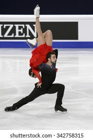 STOCKHOLM, SWEDEN - JANUARY 29, 2015: Sara HURTADO / Adria DIAZ of Spain perform during ice dance free skating at ISU European Figure Skating Championship in Globen Arena.
