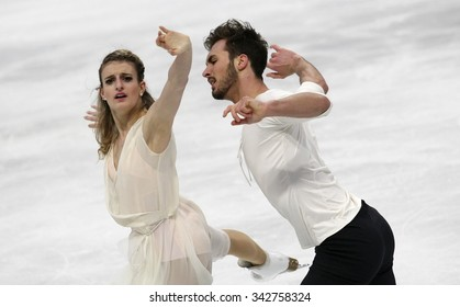 STOCKHOLM, SWEDEN - JANUARY 29, 2015: Gabriella PAPADAKIS / Guillaume CIZERON of France perform during ice dance free skating at ISU European Figure Skating Championship in Globen Arena.