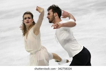 STOCKHOLM, SWEDEN - JANUARY 29, 2015: Gabriella PAPADAKIS / Guillaume CIZERON of France perform during ice dance free skating at ISU European Figure Skating Championship in Globen Arena.