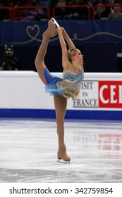 STOCKHOLM, SWEDEN - JANUARY 29, 2015: Anna POGORILAYA of Russia performs short program at ISU European Figure Skating Championship in Globen Arena.