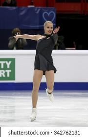 STOCKHOLM, SWEDEN - JANUARY 29, 2015: Kiira KORPI of Finland performs short program at ISU European Figure Skating Championship in Globen Arena.