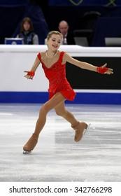STOCKHOLM, SWEDEN - JANUARY 29, 2015: Elena RADIONOVA of Russia performs short program at ISU European Figure Skating Championship in Globen Arena.