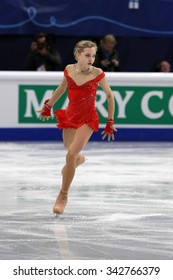 STOCKHOLM, SWEDEN - JANUARY 29, 2015: Elena RADIONOVA of Russia performs short program at ISU European Figure Skating Championship in Globen Arena.
