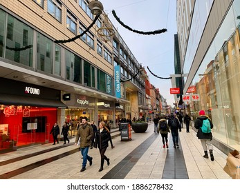 Stockholm, Sweden - January 3, 2021. Drottninggatan, a major shopping street in Stockholm. People are walking and shopping