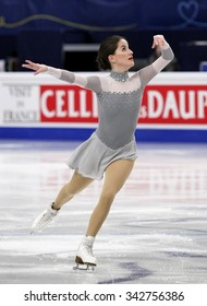 STOCKHOLM, SWEDEN - JANUARY 30, 2015: Sonia LAFUENTE of Spain performs during ladies free skating event at ISU European Figure Skating Championship in Globen Arena.