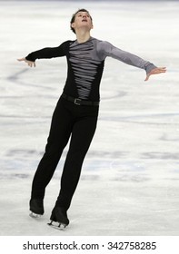 STOCKHOLM, SWEDEN - JANUARY 30, 2015: Maxim KOVTUN of Russia performs during men's free skating event at ISU European Figure Skating Championship in Globen Arena.