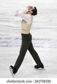 STOCKHOLM, SWEDEN - JANUARY 30, 2015: Javier FERNANDEZ of Spain performs during men's free skating event at ISU European Figure Skating Championship in Globen Arena.