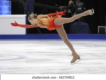 STOCKHOLM, SWEDEN - JANUARY 30, 2015: Anna POGORILAYA of Russia performs during ladies free skating event at ISU European Figure Skating Championship in Globen Arena.