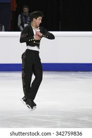 STOCKHOLM, SWEDEN - JANUARY 30, 2015: Daniel SAMOHIN of Israel performs during men's free skating event at ISU European Figure Skating Championship in Globen Arena.