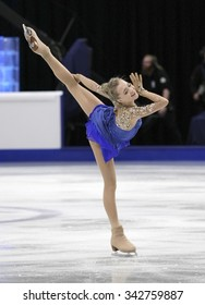 STOCKHOLM, SWEDEN - JANUARY 30, 2015: Elena RADIONOVA of Russia performs during ladies free skating event at ISU European Figure Skating Championship in Globen Arena.