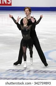 STOCKHOLM, SWEDEN - JANUARY 30, 2015: Evgenia TARASOVA / Vladimir MOROZOV of Russia perform during pairs short program at ISU European Figure Skating Championship in Globen Arena.