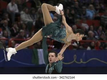 STOCKHOLM, SWEDEN - JANUARY 30, 2015: Valentina MARCHEI / Ondrej HOTAREK of Italy perform during pairs short program at ISU European Figure Skating Championship in Globen Arena.