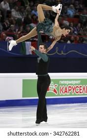 STOCKHOLM, SWEDEN - JANUARY 30, 2015: Valentina MARCHEI / Ondrej HOTAREK of Italy perform during pairs short program at ISU European Figure Skating Championship in Globen Arena.