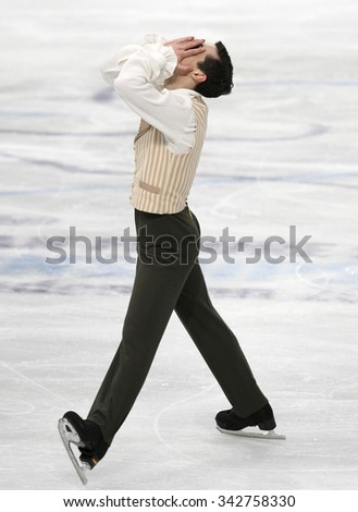 STOCKHOLM, SWEDEN - JANUARY 30, 2015: Javier FERNANDEZ of Spain performs during men's free skating event at ISU European Figure Skating Championship in Globen Arena.