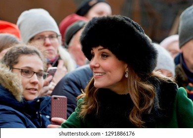 STOCKHOLM, SWEDEN - January 30, 2018: Kate, Catherine, Duchess of Cambridge on an official visit, Stockholm.
