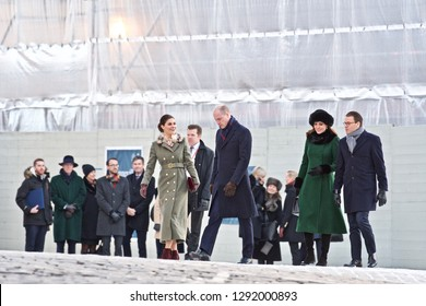 STOCKHOLM, SWEDEN - JANUARY 30, 2018: Catherine, Duchess of Cambridge,  Prince William, Duke of Cambridge Victoria, Crown Princess of Sweden Prince Daniel, Duke of Västergötland In Stockholm.