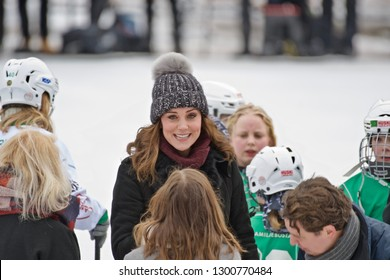 STOCKHOLM, SWEDEN - JANUARY 30, 2018: Prince William, Duke of Cambridge and Catherine Duchess of Cambridge at a ice rink in Stockholm.
