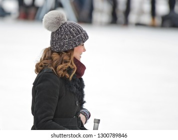 STOCKHOLM, SWEDEN - JANUARY 30, 2018: Catherine, Duchess of Cambridge and Prince William, Duke of Cambridge at Vasaparken ice rink in Stockholm.