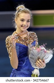 STOCKHOLM, SWEDEN - JANUARY 31, 2015: Elena RADIONOVA of Russia poses with silver medal during ladies victory ceremony at ISU European Figure Skating Championship in Globen Arena.
