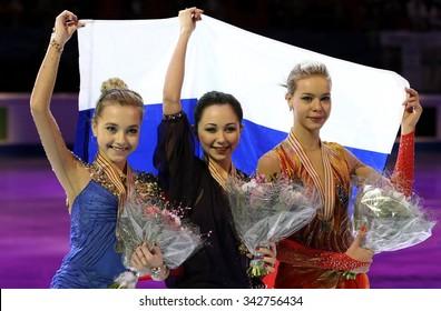 STOCKHOLM, SWEDEN - JANUARY 31, 2015: Elena RADIONOVA (L), Elizaveta TUKTAMYSHEVA, Anna POGORILAYA pose during ladies medal ceremony at ISU European Figure Skating Championship in Globen Arena.