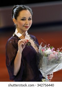 STOCKHOLM, SWEDEN - JANUARY 31, 2015: Elizaveta TUKTAMYSHEVA of Russia poses with gold medal during ladies victory ceremony at ISU European Figure Skating Championship in Globen Arena.