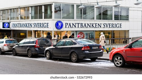 Stockholm, Sweden - January 5, 2016:  The exterior of the shopping street, Master Samuelsgatan in Stockholm city center with a Pawnshop called Pantbanken Sverige