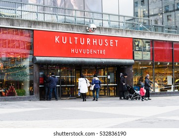 Stockholm, Sweden - January 5, 2016: Main entrance to Kulturhuset, meaning House of Culture, at Sergelstorg in Stockholm city