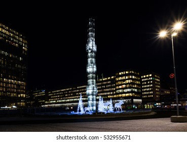 Stockholm, Sweden - January 5, 2016: Christmas Ornaments at Sergels torg in city of Stockholm