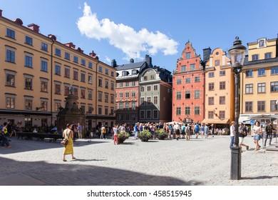 Stockholm, Sweden - Jul 18, 2016 : View of the Stortorget, Old Town, Stockholm