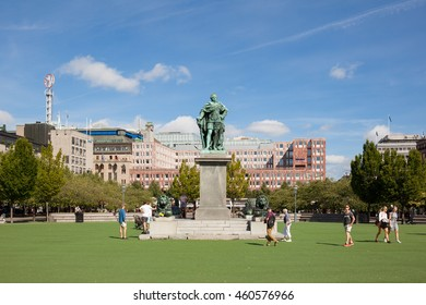 Stockholm, Sweden - Jul 27, 2016 : Front view of the Karl XIII, Charles XIII, statue at the Kungstradgarden, King's garden at Stockholm, Sweden