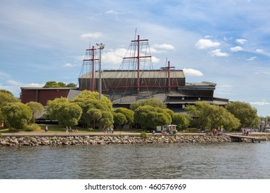 Stockholm, Sweden - Jul 27, 2016 : Waterfront view of Vasa museum, one of the most visited museums in Sweden.
